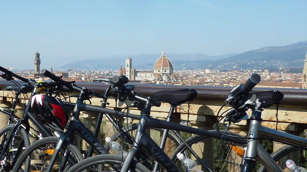Florence View with your Bike Rental in Tuscany