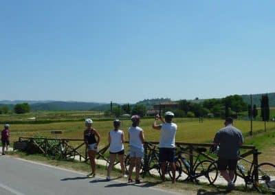 San Gimignano to Siena bike tour - Tuscany countryside towards Monteriggioni | bikeinflorence.com