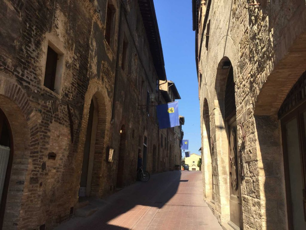 Local color in San Gimignano with Bike Florence & Tuscany