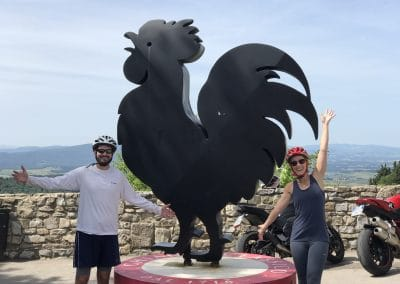 Florence to Siena one-day tour Crossing Chianti to Siena | The black rooster in Castellina in Chianti | bikeinflorence.com